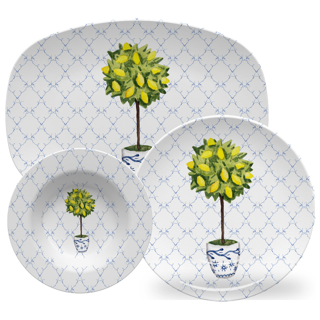 Luxury Lemon Topiary ThermoSāf® Plate, Platter And Bowl - Oven Safe, Microwave Safe, Dishwasher Safe, BPA Free!