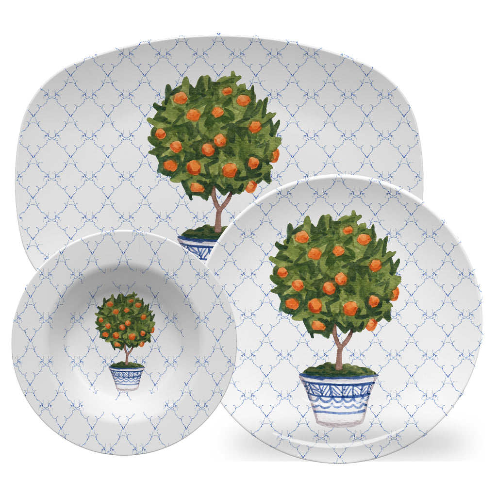 Luxury Orange Topiary ThermoSāf® Plate, Platter And Bowl - Oven Safe, Microwave Safe, Dishwasher Safe, BPA Free!