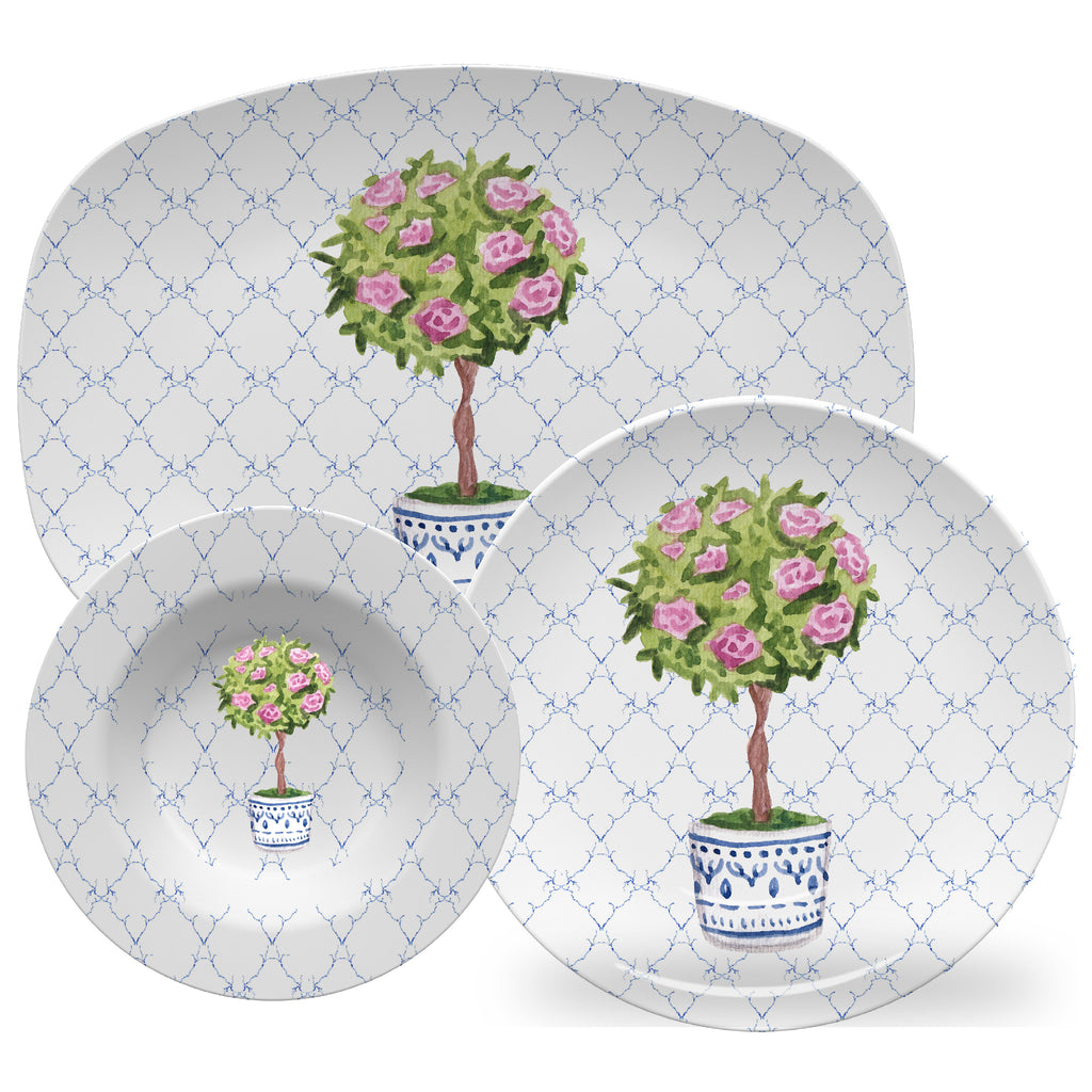 Luxury Topiary Rose ThermoSāf® Plate, Platter And Bowl - Oven Safe, Microwave Safe, Dishwasher Safe, BPA Free!