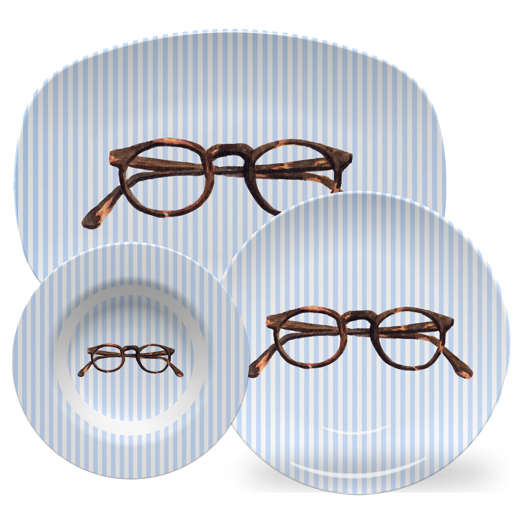 Luxury Tortoise Shell Glasses Ivy Style ThermoSāf® Plate, Platter And Bowl - Oven Safe, Microwave Safe, Dishwasher Safe, BPA Free!