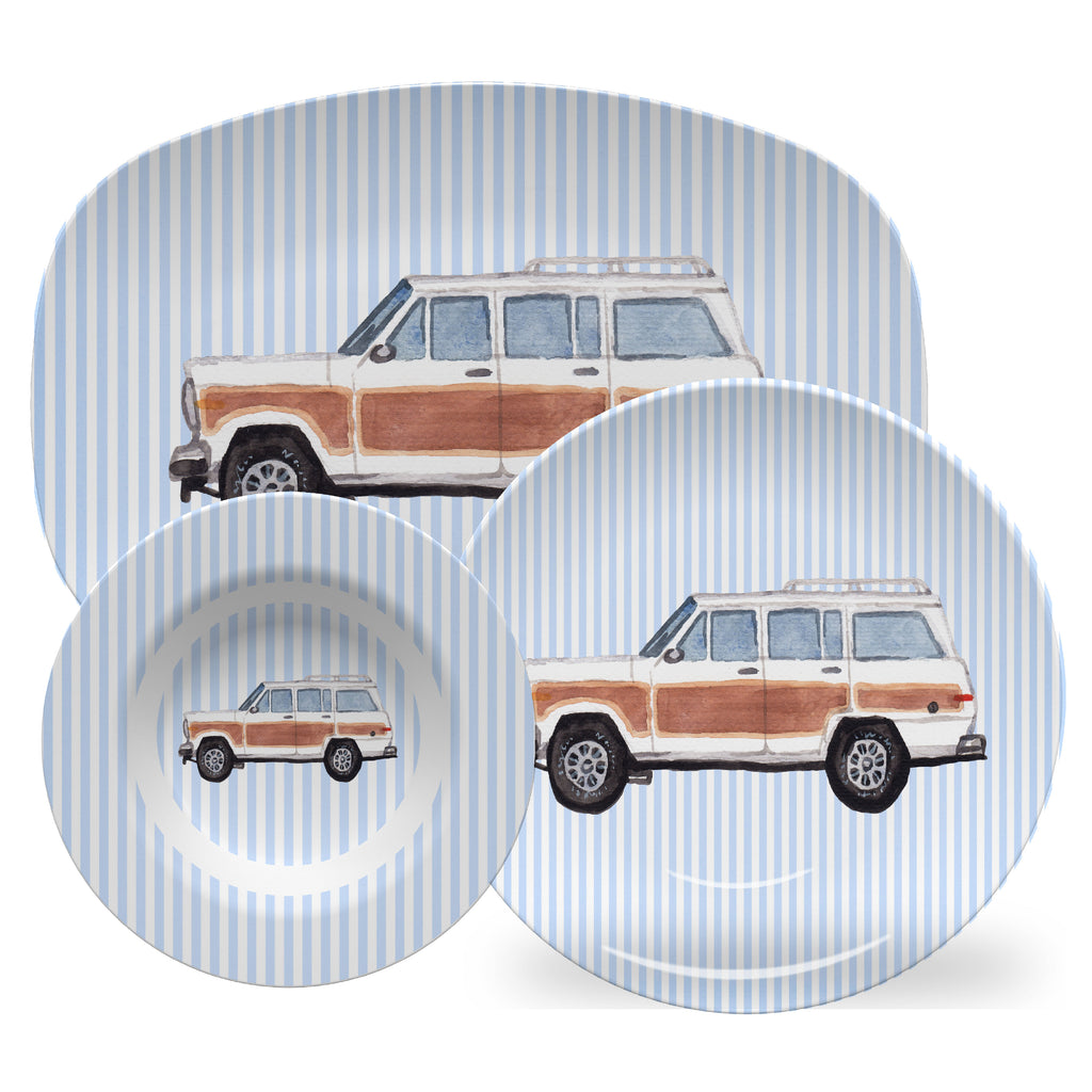 Luxury Woodie Wagon ThermoSāf® Plate, Platter And Bowl - Oven Safe, Microwave Safe, Dishwasher Safe, BPA Free!