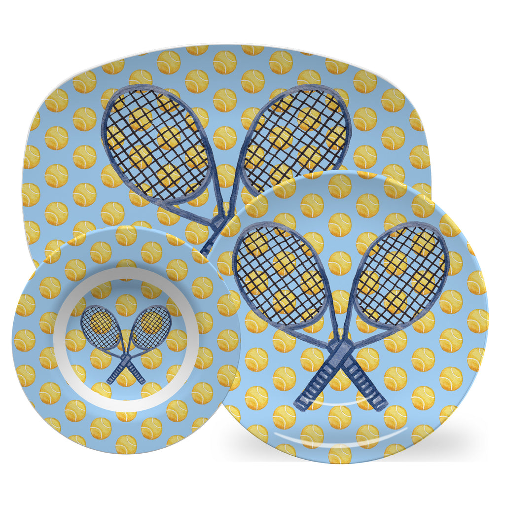 Luxury It's a Ball Tennis ThermoSāf® Plate, Platter And Bowl - Oven Safe, Microwave Safe, Dishwasher Safe, BPA Free!