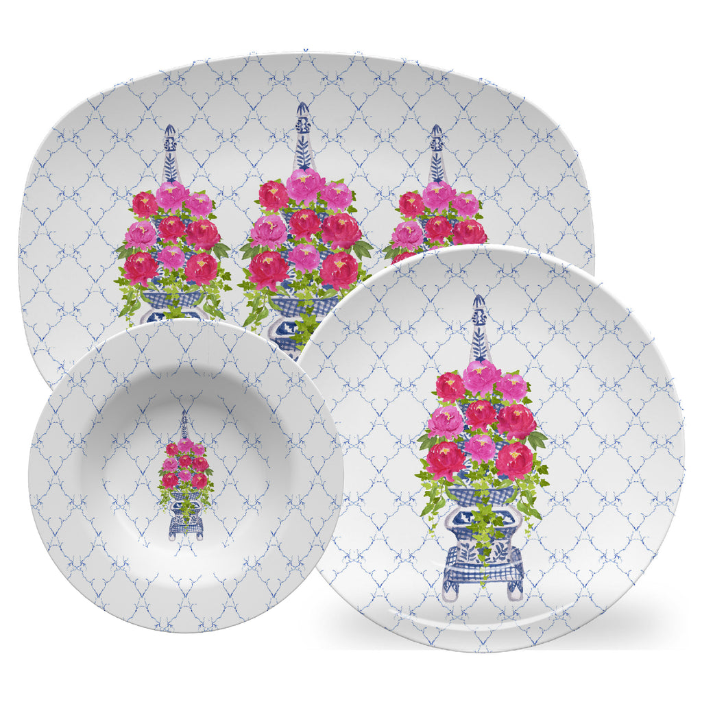 Luxury Chinoiserie Tulipiere With Peonies ThermoSāf® Plate, Platter And Bowl - Oven Safe, Microwave Safe, Dishwasher Safe, BPA Free!