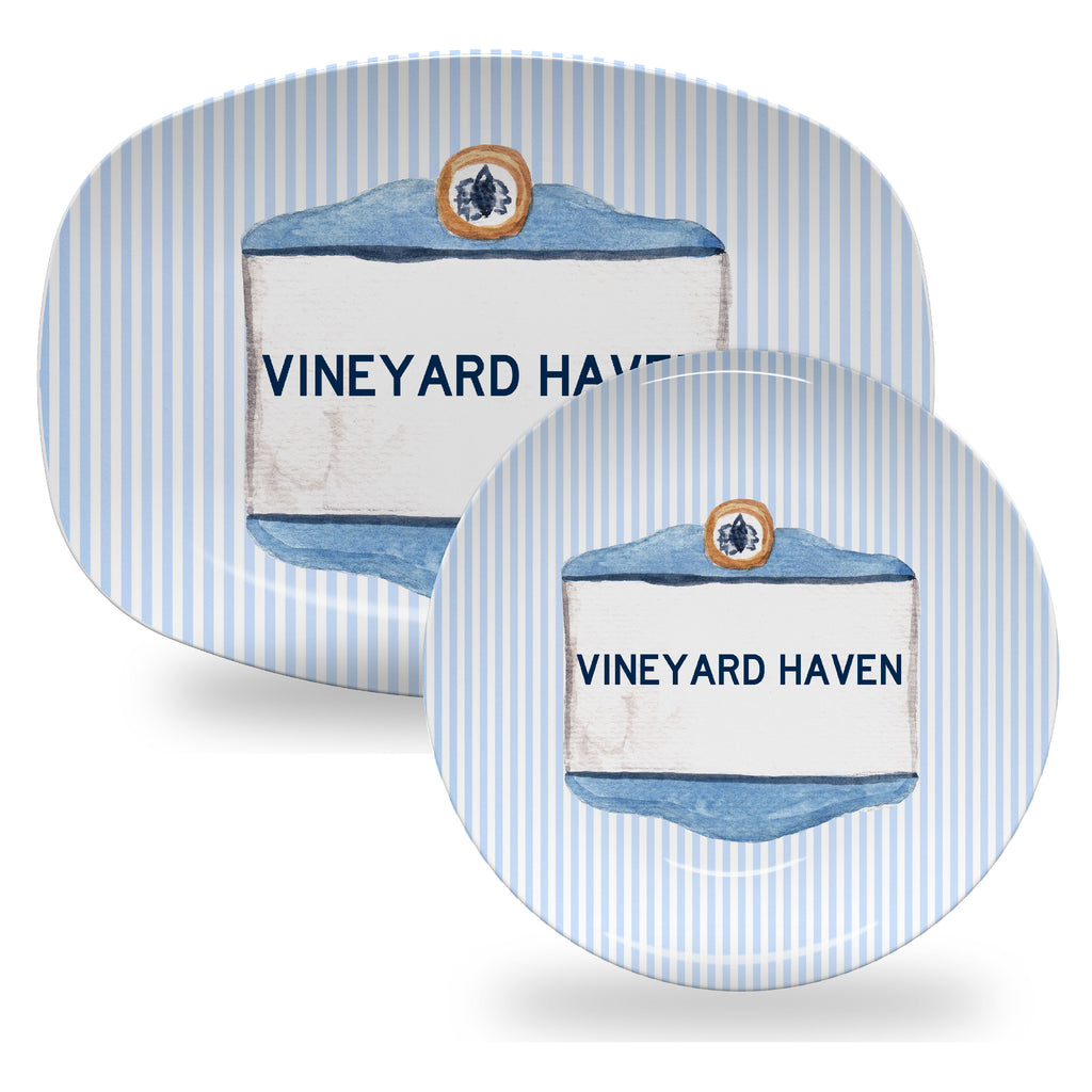 Luxury Martha's Vineyard Signs ThermoSāf® Plates, Platters And Bowls - 12 Areas Available - Oven Safe, Microwave Safe, Dishwasher Safe, BPA Free!