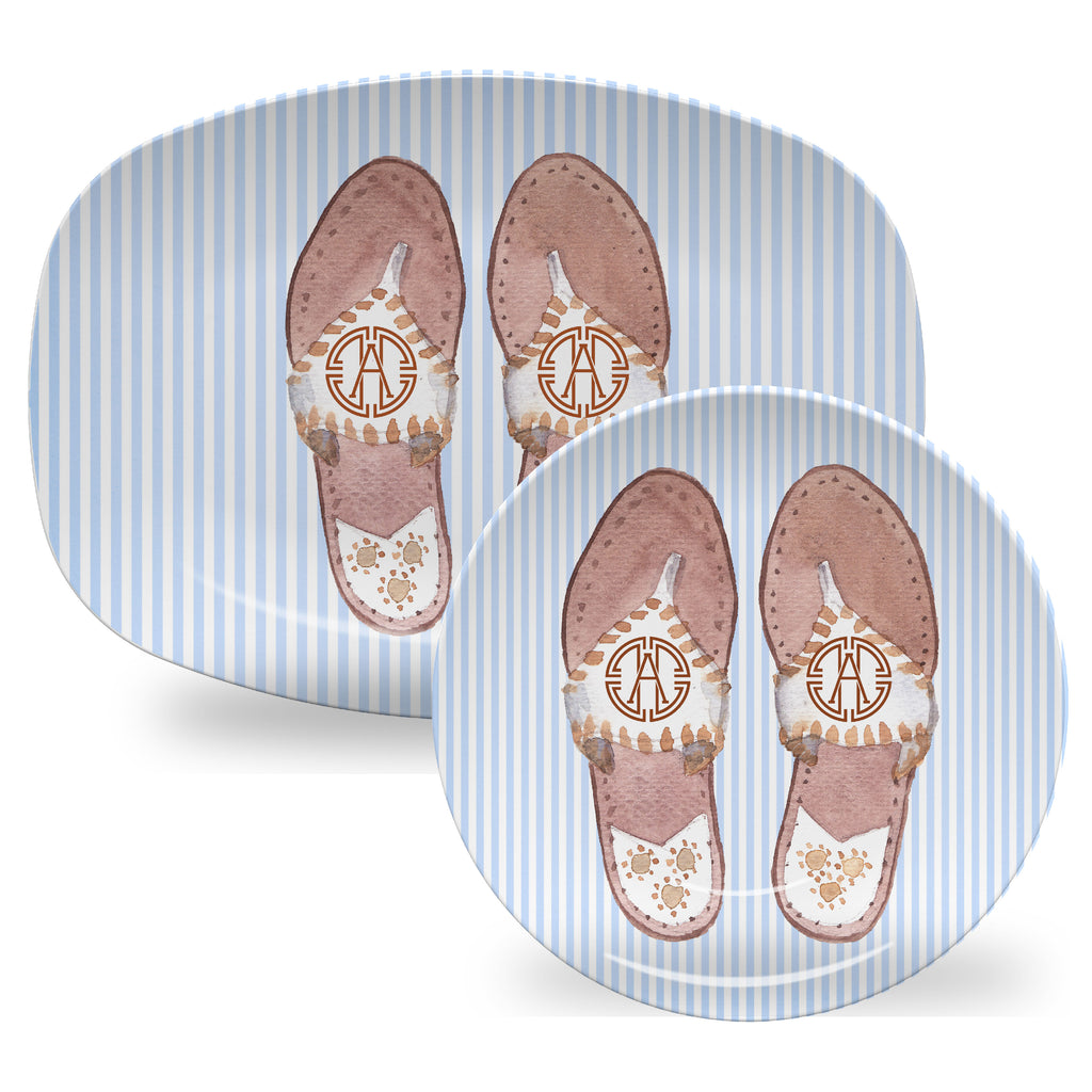 Luxury Palm Beach Sandal Monogrammable ThermoSāf® Plate, Platter And Bowl - Oven Safe, Microwave Safe, Dishwasher Safe, BPA Free!