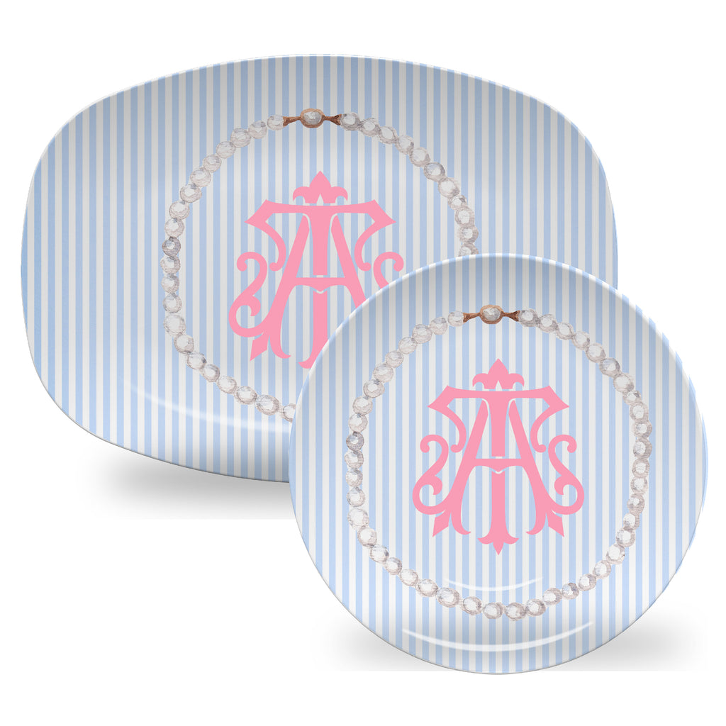 Luxury Classic Pearls Monogrammable ThermoSāf® Plate, Platter And Bowl - Oven Safe, Microwave Safe, Dishwasher Safe, BPA Free!