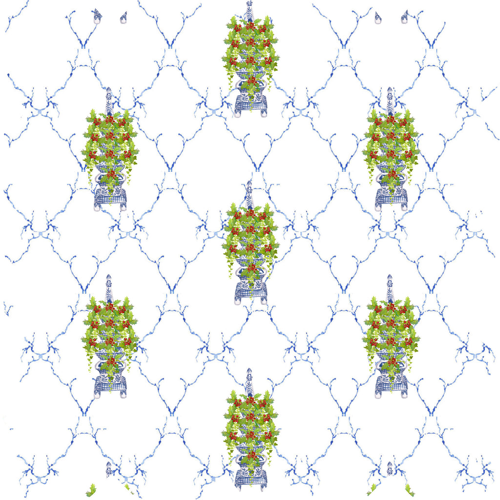 Chinoiserie Tulipiere Holly And Ivy Gift Wrapping Paper