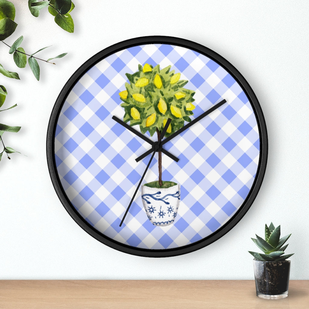 Chinoiserie Lemon Topiary Wall Clock