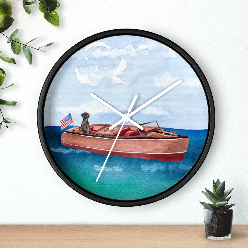 Speed Boat With Black Lab Wall Clock