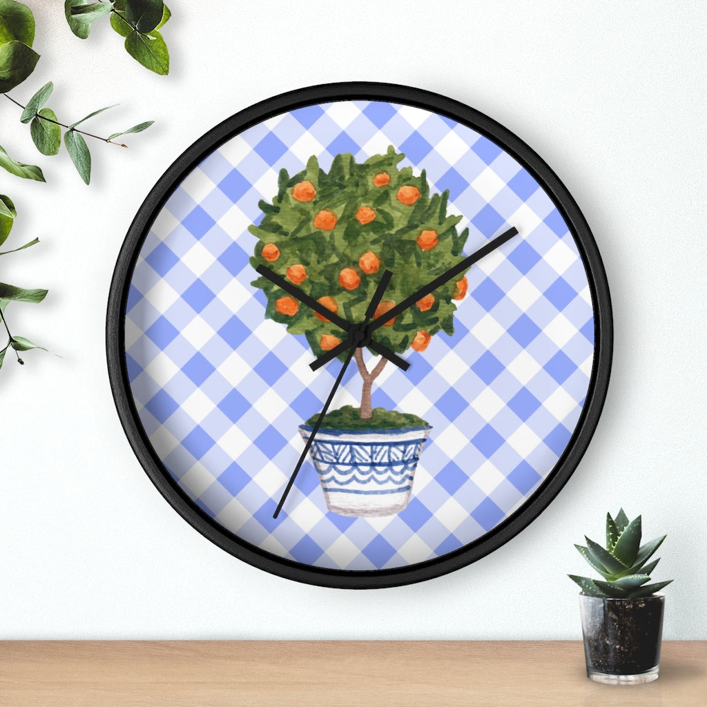 Chinoiserie Orange Topiary Wall Clock