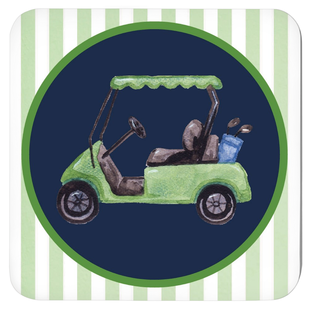 Golf Cart Coasters - Set of Four Assorted Colors