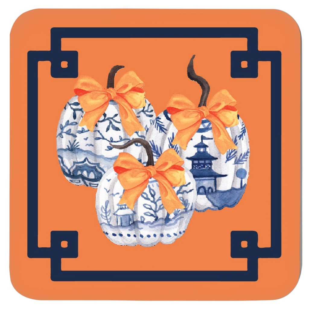 Chinoiserie Pumpkin Trio Coasters - Set of Four