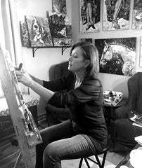 Collage artist Deborah Shapiro in studio