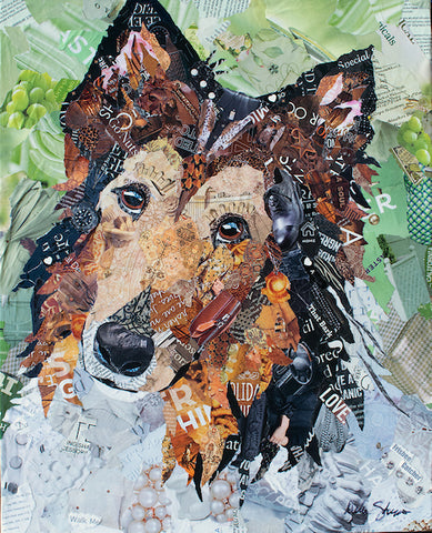 Rough Collie art made from magazine paper