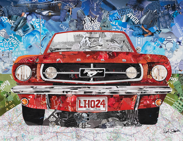 1965 Mustang magazine collage art
