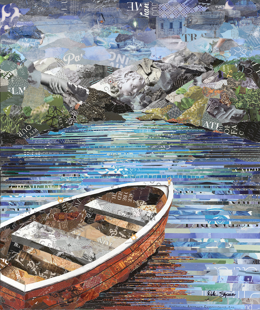 magazine collage art of boat on water