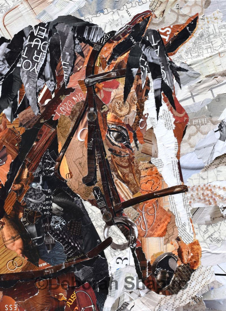 Brown Horse With White Blaze Collage Art By Artist Deborah Shapiro Deborah Shapiro Art