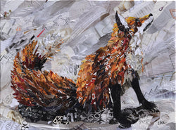 Fox collage art from recycled magazines