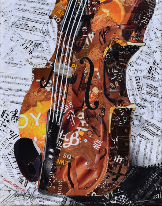 Violin collage art from torn magazines