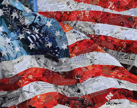 American First Ladies Flag collage art from torn magazines