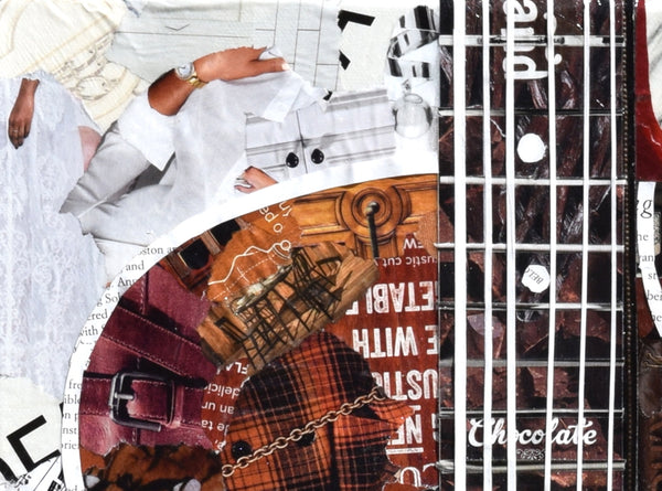 stings on guitar of magazine collage art