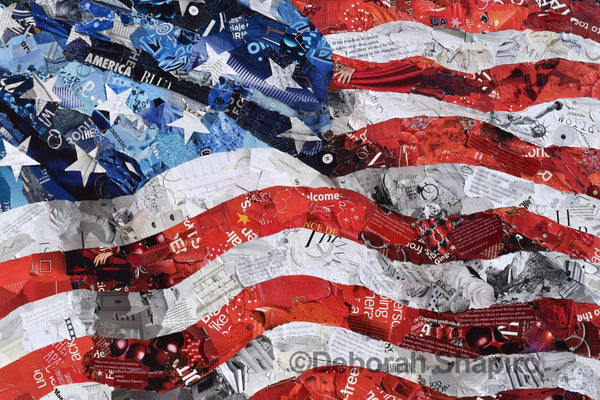 American flag art print from recycled magazines