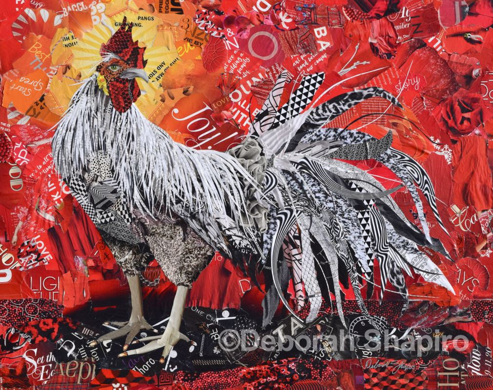 rooster collage art