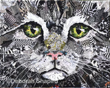 Cat collage from recycled magazines