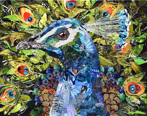 Pretty as a Peacock Original Collage