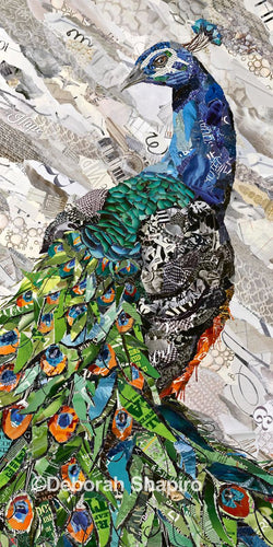 Peacock art from torn magazine paper
