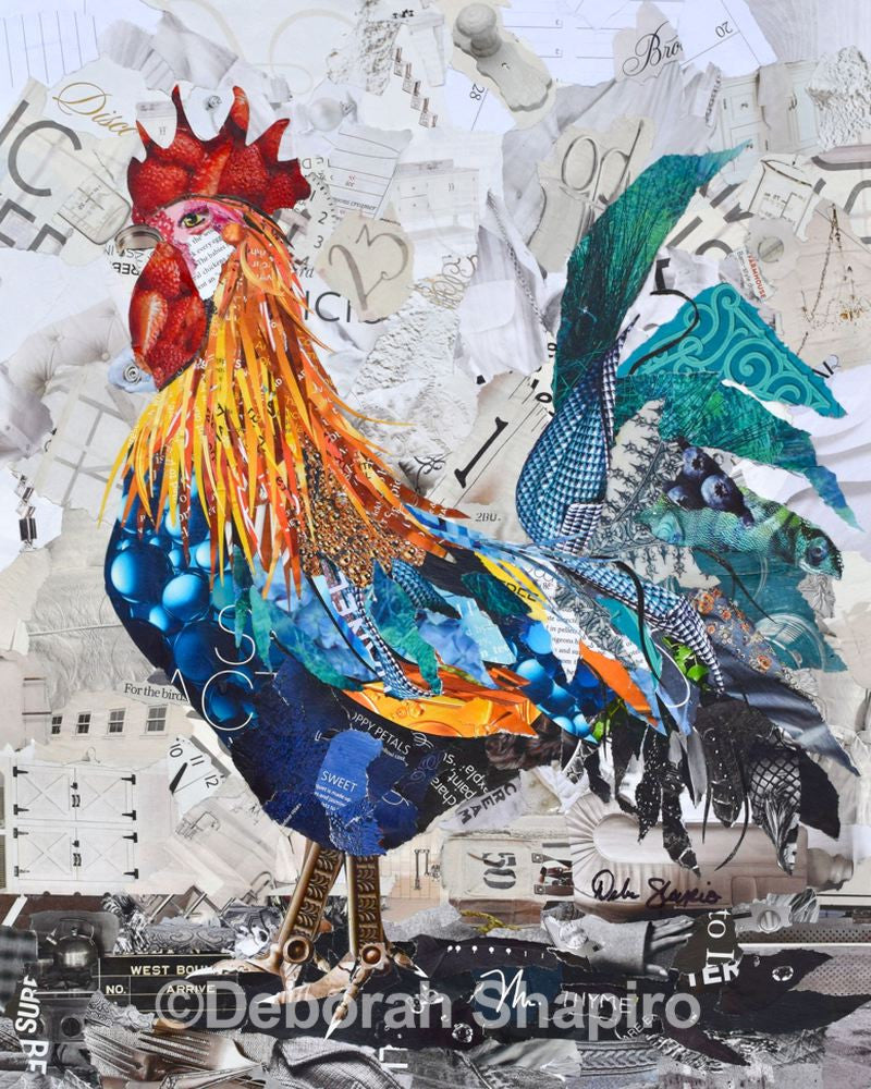 Paper Rooster Collage Art Deborah Shapiro Art