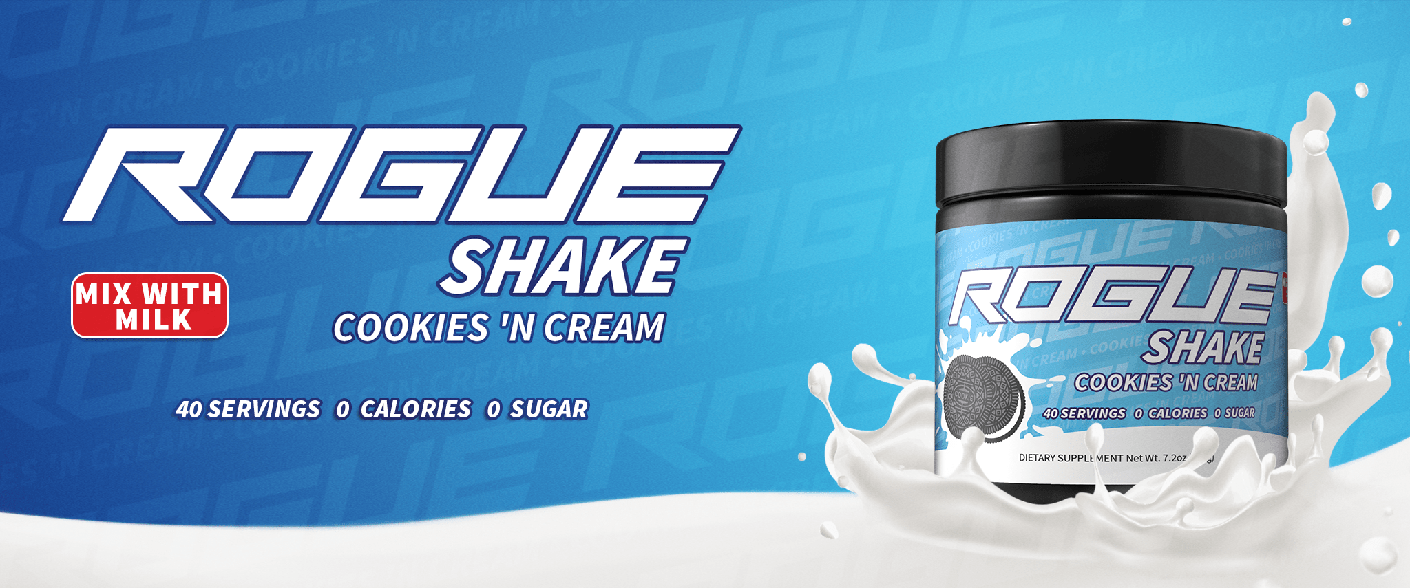 Cookies 'N' Cream Rogue Shake by Rogue Energy.  The Best Gaming Energy Drink For Gamers.
