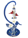 Glass Baron Cardinal Feeder with White Ceramic Flower Yellow Swarovski Crystal Accented 22k Gold Mirror Base