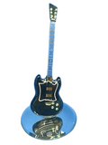 Glass Baron Custom Black Guitar Handcrafted Figurine Accented with 22kt Gold and Swarovski Crystal