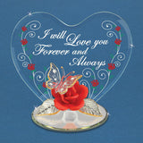 "Glass Baron Handcrafted Heart Figurine Butterfly On Rose Embossed ""I Will Love You Forever and Always"" Accented with Swarovski Crystal"