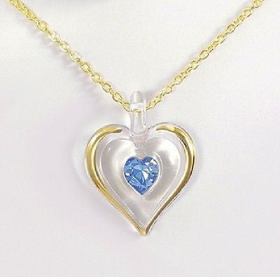 Glass Baron ~ December Birthstone Necklace ~ Large Blue Crystal ~ 22kt gold trim
