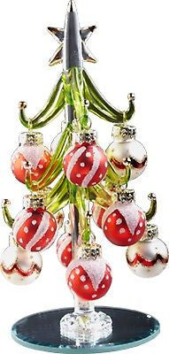 Glass Christmas Tree w/ Red & White Ornaments ~  NIB ~ Great Gift Idea ~ 6""