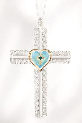 Turquoise Heart Cross Christmas Ornament
