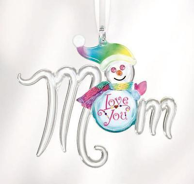 Mom Love You Snowman Christmas Ornament ~ Crystal Accents ~ W3 550
