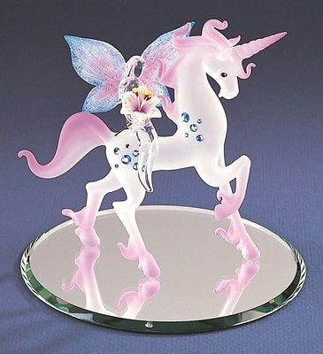Glass Baron ~ Unicorn with Fairy Figurine with Crystals ~ S5 574