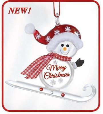 Snowman Sled Merry Christmas Ornament ~ Crystal Accents ~ W3 384-2