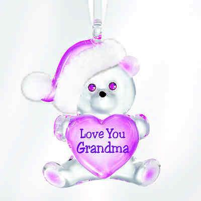 Glass Baron Bear Holding Heart Love You Grandma Ornament Accented with Swarovski Crystal