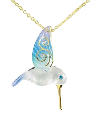 Blue Hummingbird Necklace ~ 22Kt gold accents ~ JP 334-B