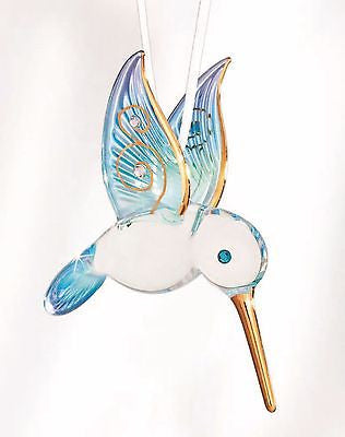 Glass Baron ~ Hanging Blue Hummingbird w/ Crystal eye & 22kt gold trim ~ NIB
