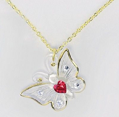 Glass Baron Butterfly Necklace with Red Crystal Heart Accented with Clear Swarovski Crystal