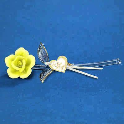 Yellow Rose Long Stem 22kt gold trim ~ I Love You ~ P4 414Y