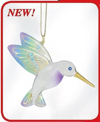 Glass Baron ~ Hanging Blue Hummingbird with Crystals & 22kt gold accents ~ NIB