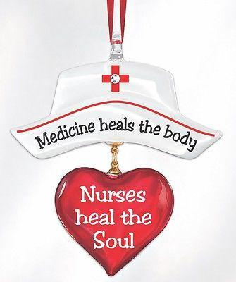 Nurse Medicine heals the Body Christmas Ornament ~ W3 236