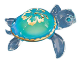 Handcrafted Glass Baron Sea Turtle Aloha Figurine Accented with Swarovski Crystal and 22 Kt Gold