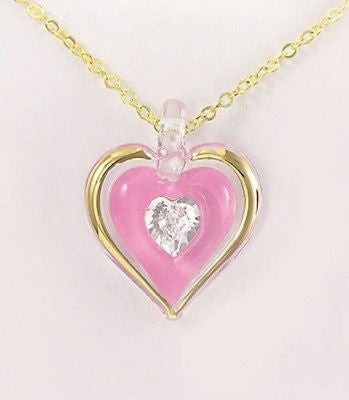 Glass Baron ~ Pink Heart Necklace with Crystal ~ JP 101-P